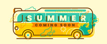 Retro Style Summer Banner Design In Color With Illustrated Bus And Various Abstract Elements. Vector Illustration.