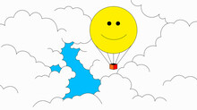 Smiley Face Hot Air Balloon And United Kingdom Shaped Blue Sky