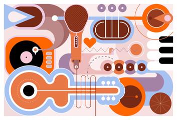 Plosnati dizajn različitih glazbenih instrumenata, vektorska ilustracija. Umjetnička kompozicija gitare, saksofona, klavirske klavijature, trube, mikrofona i gramofona.