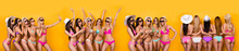 Panoramic Photo Composite Image Of Hot Slim Sporty With Perfect Best Bodies Ladies Having Fun Time Together Celebration Summer Time Coming Isolated Over Bright Color Yellow Background