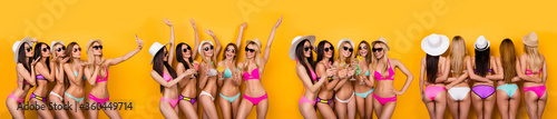 Panoramic photo composite image of hot slim sporty with perfect best bodies ladies having fun time together celebration summer time coming isolated over bright color yellow background - 360449714