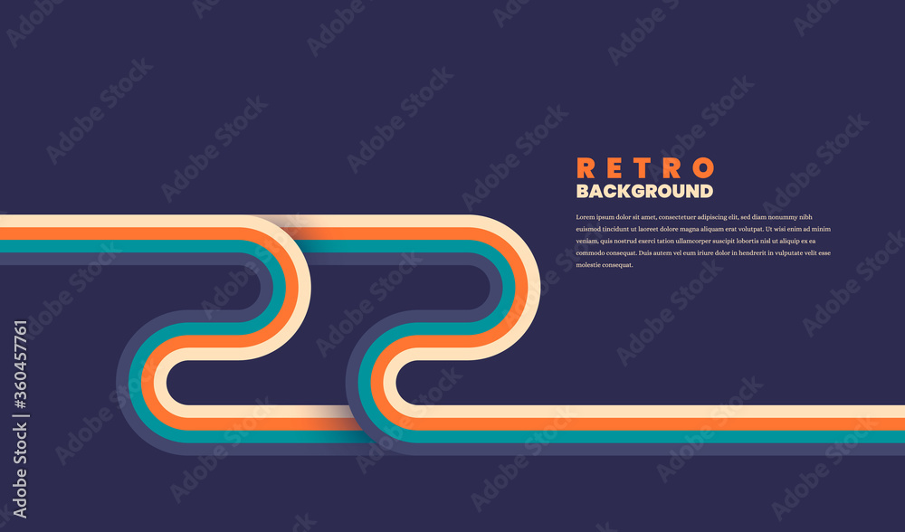 Minimalist retro background design with rounded striped elements in color. Vector illustration.