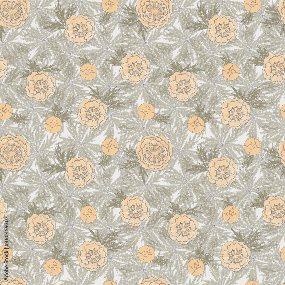 Seamless pattern on gray background with yellow globe-flowers and leaves