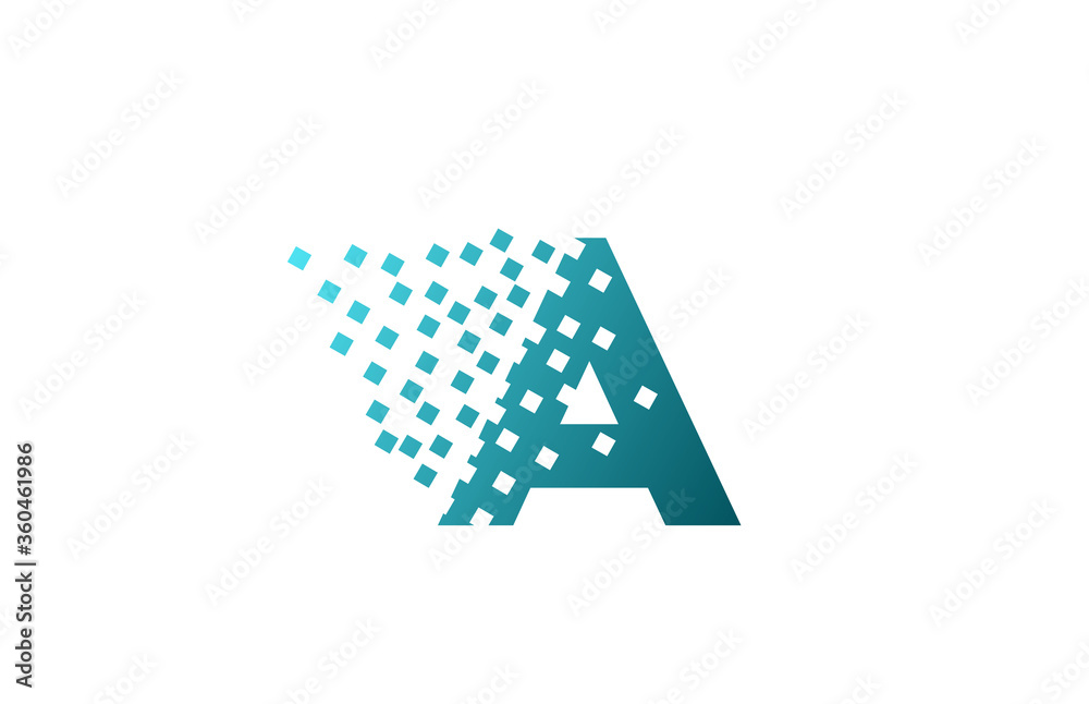 Fototapeta A alphabet letter logo icon for company and business. Green eroded pixel design for corporate identity