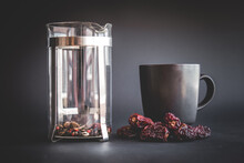 Dry Herbal Masala Tea In A French Press. Red Berries And Flowers, Anise At The Bottom. Healthy Eating And Slimming Concept