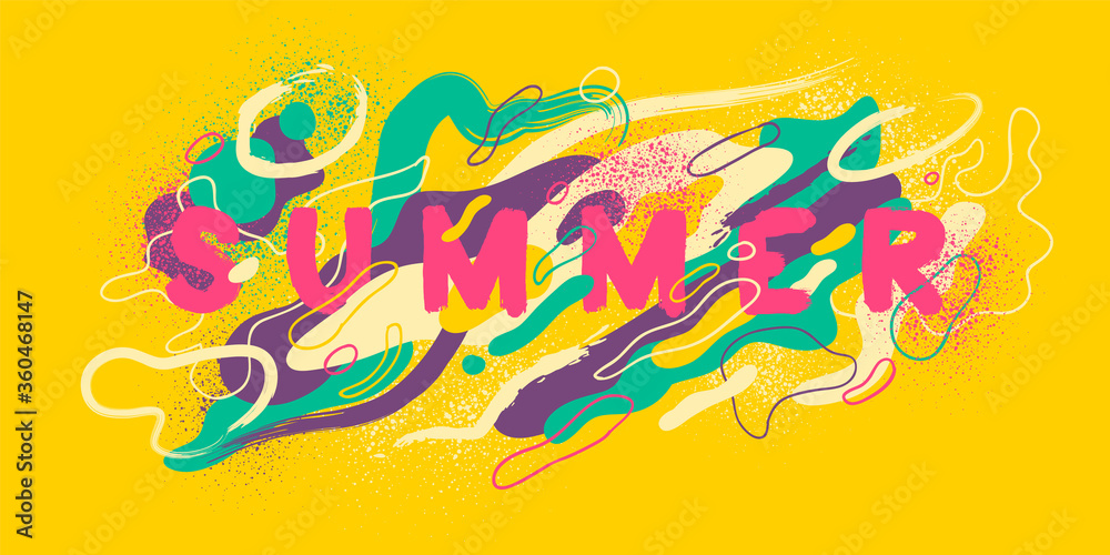Colorful abstract summer background design, with liquid and splattered shapes. Vector illustration.