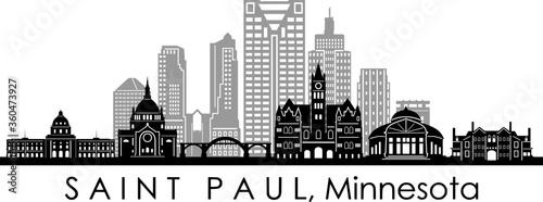 Fototapety, obrazy: SAINT PAUL City Minnesota Skyline Silhouette Cityscape Vector