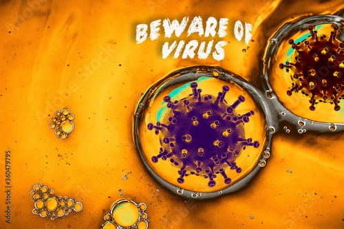 Microstructure of coronavirus and Beware of Virus text Wallpaper Mural