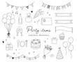 パーティーグッズの手書きのイラストのセット/誕生日/記念日/イベント