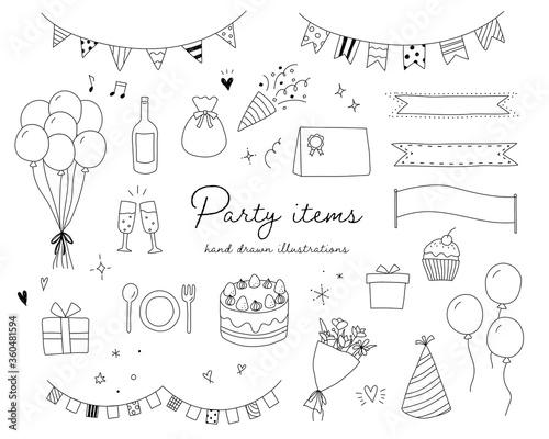 Fototapeta パーティーグッズの手書きのイラストのセット/誕生日/記念日/イベント
