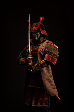 Portrait Of A Samurai In Armor...