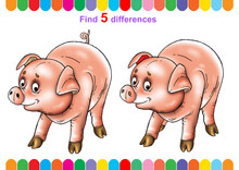 Illustration, Children's Puzzle, Educational Game. Find 5 Differences.  For Younger Children. Cartoon Characters.
