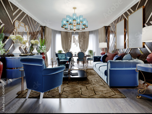 Obraz Luxurious luxury living room with wood paneling on the walls with gold accents, blue furniture, brown walls. - fototapety do salonu
