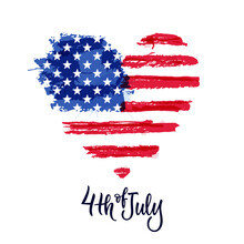 Happy 4th Of July, USA Independence Day. Hand Drawn Calligraphy Lettering, American Watercolor Flag. Vector Illustration