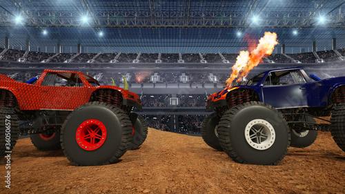 Fototapeta Monster truck on stadium.  obraz