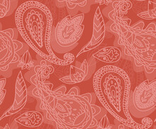 PAisley Ornaments Vector Art - Orange Seamless Pattern