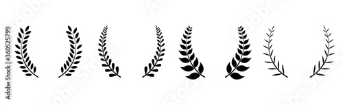 Set of four black silhouette circular laurel foliate, wheat and oak wreaths depi Fototapeta