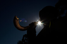Man Blowing Shofar, Horn Used...
