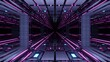 3D rendering illustration of futuristic colorful techno lights crating a tunnel
