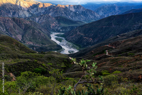 View of Chicamocha canyon in Colombia in the Andes mountain range. South America