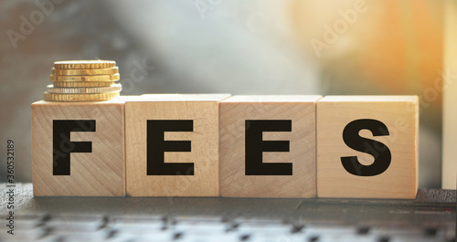 Fotografía Coin stack and wooden blocks with the fee text