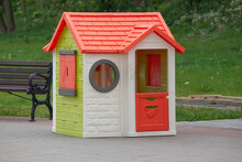 A Small Children's Playhouse For Playgrounds And Parks.