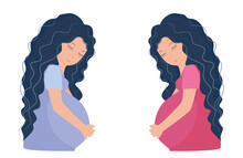 Pregnant Women In Lilac And Pi...