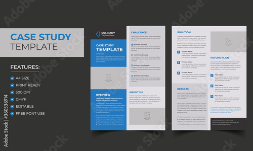 Obraz Case Study Template. Corporate Modern Business Double Side Flyer and Poster Template. Colorful booklet design. - fototapety do salonu