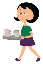 Woman Carrying Dirty Dishes, I...