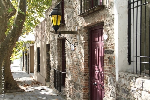 Old buildings under the sunlight at daytime in the Colonia Department in Uruguay