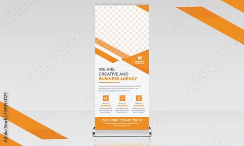 Valokuvatapetti roll up banner illustrator orange-yellow business advertising promotion marketin