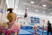 Girl Training On Uneven Bars I...