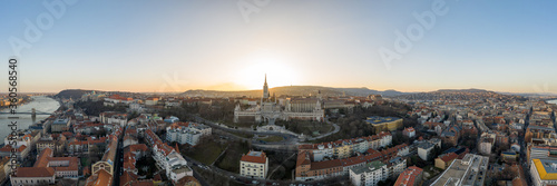 Leinwand Poster Aerial panorama drone shot of Fisherman's Bastion on Buda Hill in Budapest sunse