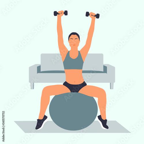 chica joven haciendo ejercicios en casa, entrenamiento, motivación, mujer entren Canvas Print
