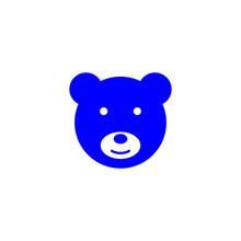 Bear Cute Blue Logo Vector Eps