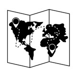 summer travel and vacation navigation map pin destination in silhouette style isolated icon