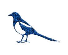 Bird Classic Blue Glitter Isolated On White Background, Vintage Retro Bird Animal