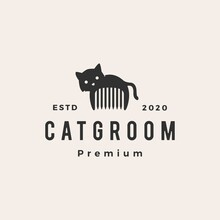 Cat Groom Hipster Vintage Logo...
