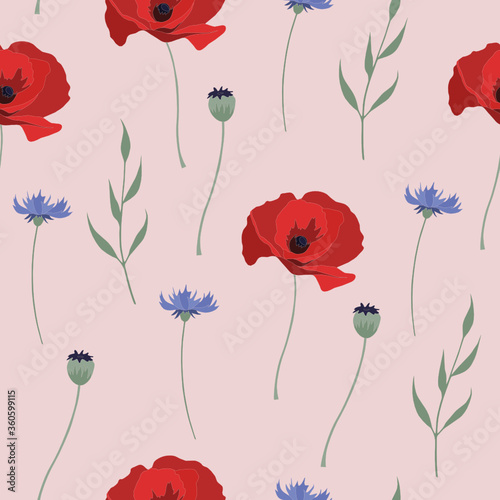 Vector seamless pattern with red poppies and blue cornflowers