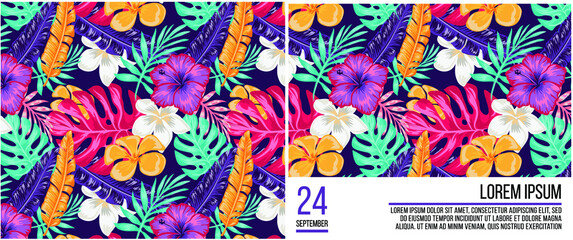 Trend seamless pattern with colorful tropical leaves and plants on a blue background. Retro party poster. invitation card, dance time parties advertisement Exotic tropics.