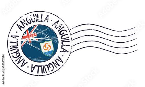 Cuadros en Lienzo Anguilla grunge postal stamp