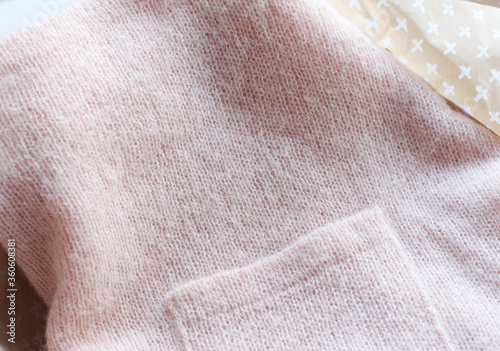 Background texture of pink pattern knitted fabric made of angora or wool Canvas Print