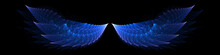 Vibrant Blue Angel Wings On Bl...