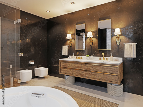 Double wooden washbasin with two mirrors and a sconce on the black marble wall. Fashionable bathroom design.