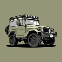Jeep Land Cruiser FJ40 Car Illustration Vector Line Art
