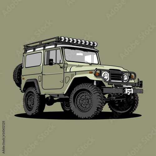 Cuadros en Lienzo Jeep Land Cruizer FJ40 car illustration vector line art