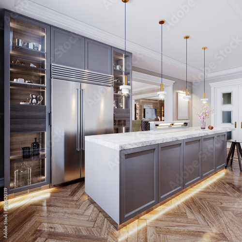 A modern kitchen island made of wooden panels with a chamfer of gray color, with a white marble countertop and two bar stools Fototapet