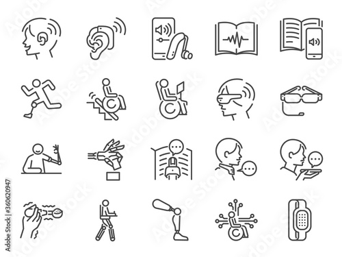 Fotografia Disability with technology line icon set
