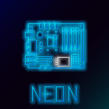 Glowing Neon Line Electronic Computer Components Motherboard Digital Chip Integrated Science Icon Isolated On Black Background. Circuit Board. Colorful Outline Concept. Vector.