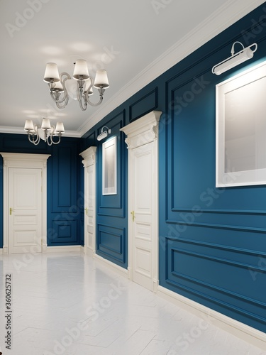 Classic-style corridor with blue walls and white doors and wood-paneled walls. The paintings on the walls.